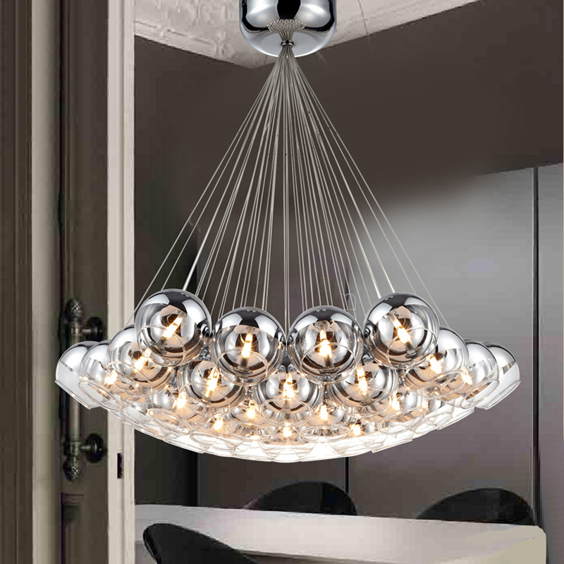Modern Chrome Glass Balls LED Pendant Chandelier Light For Living Dining Study Room Home Deco G4 Hanging Chandelier Lamp Fixture