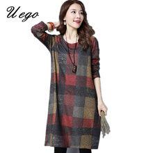 Uego 2018 Neue Mode England Stil Plaid Dicke Herbst Kleid Lose Frauen Winter  Woll Kleid Plus Größe Casual Midi Kleid 7476a875e5