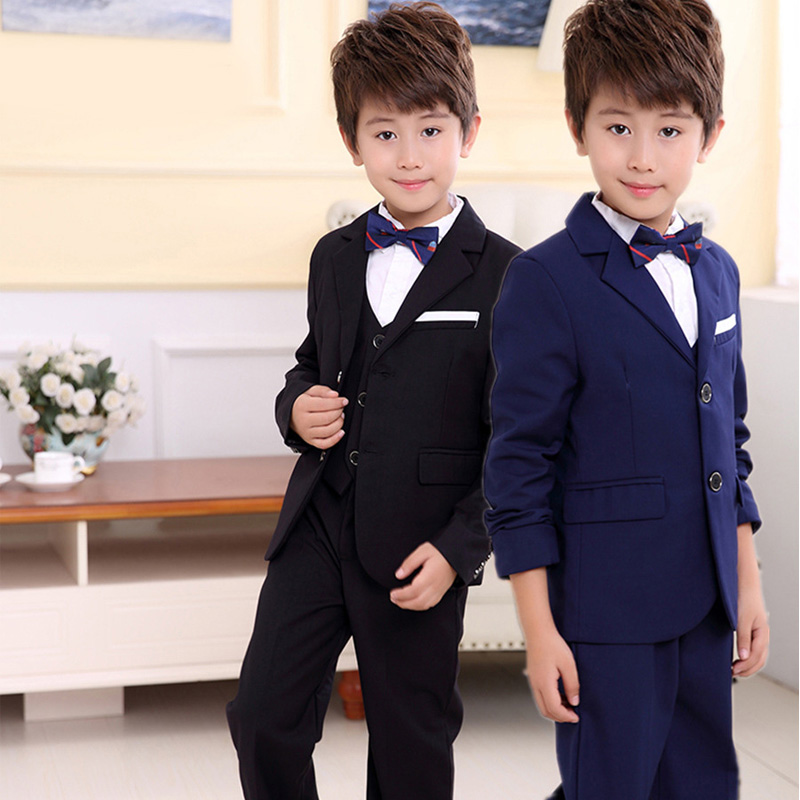 2018 new style childrens fashion suits solid color jacket British wind casual boy performance performance dress suit 3pcs / set2018 new style childrens fashion suits solid color jacket British wind casual boy performance performance dress suit 3pcs / set