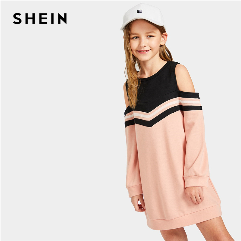 SHEIN Kiddie Girls Pink Cold Shoulder Chevron Striped Dress Children Clothing 2019 Spring Fashion Long Sleeve Cute Short Dresses pink lace details backless off the shoulder long sleeves mini dress