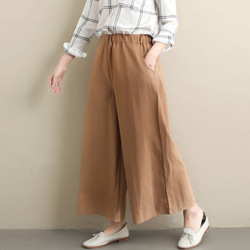 Spring Summer New Loose Plus Size Cotton and Linen   Wide     Leg     Pants   Elastic Waist Casual Nine Points Trousers pantalon femme f1357