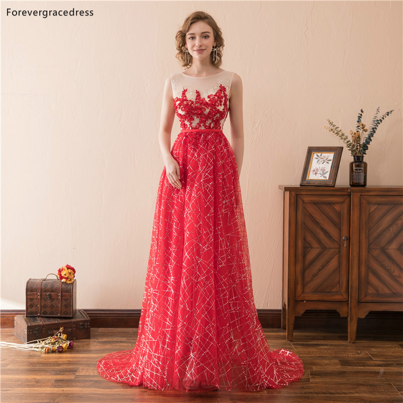 Forevergracedress Red Illusion   Prom     Dresses   2019 A Line Lace Sleeveless Formal Party Gowns Plus Size Custom Made