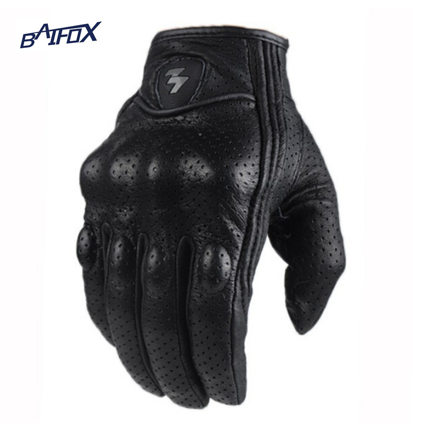 Black riding gloves - Motorcycle Gloves Men Outdoor Sports Full Finger Motorcycle Riding Protective Armor Black Short Leather Gloves Free
