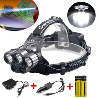 IKVVT Novel 80000LM 6 Modes 5x XM L T6 LED Rechargeable 18650 Headlamp Camping Hiking Torch