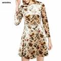 2016 Women Autumn Winter Long-Sleeve FLoral Print Velvet Dress O-neck Pleated Dresses Vestidos de Festa