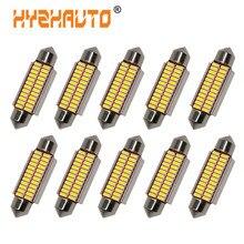 HYZHAUTO 10 шт. гирлянда 31 мм 36 мм 39 мм 41 мм Светодиодные лампы C5W C10W автомобильное светодиодное освещение для чтения белый Canbus 4014 SMD Автомобильная ...