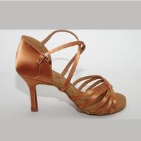 Latin Dance Shoes Woman Ballroom Salsa Heel 8.5cm High grade imported satin Samba shoes BD Dance 216 Dark Complexion Soft Sole