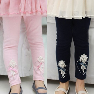 2012 autumn flower beads love child baby girls clothing legging long trousers 4856