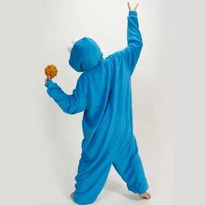 Image 2 - Azul conjuntos de pijamas de franela Animal pijama kugurumi de invierno de punto ropa de dormir de las mujeres de los hombres adultos camisón de dibujos animados de sésamo calle pijama
