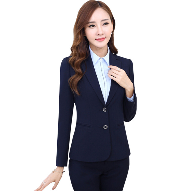 Moda trabalho desgaste mulheres de calças ternos 2016 outono OL fino formal de 2 botões blazer de manga comprida e pant plus size escritório ternos