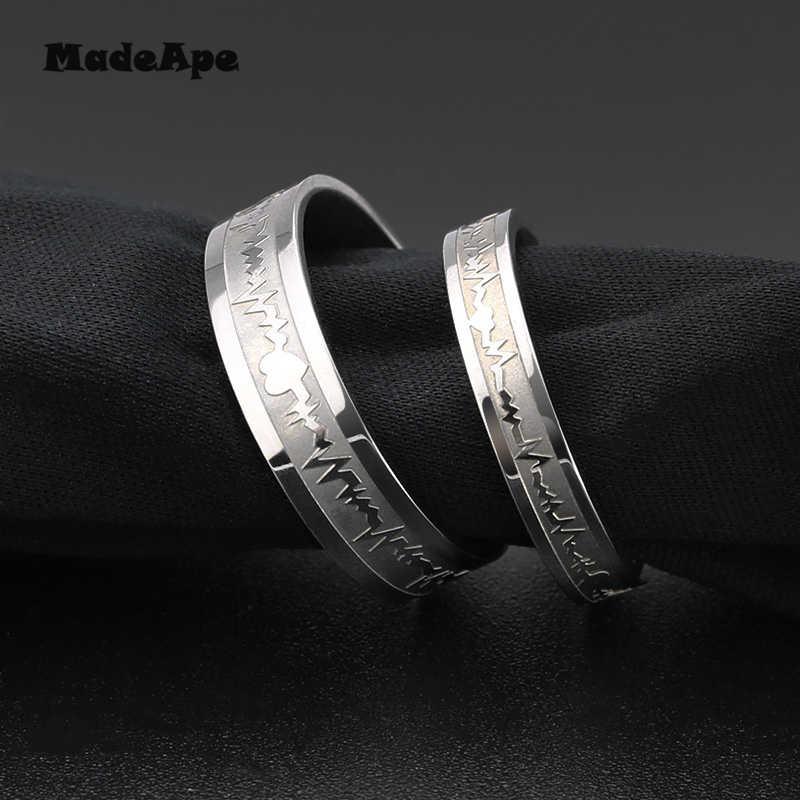 MadApe ECG แหวนคู่ทองสีไทเทเนียมสแตนเลสกว้าง 6 มม. ผู้หญิงเครื่องประดับแต่งงานแหวนผู้หญิงผู้ชาย Engagenemt แหวนเครื่องประดับ