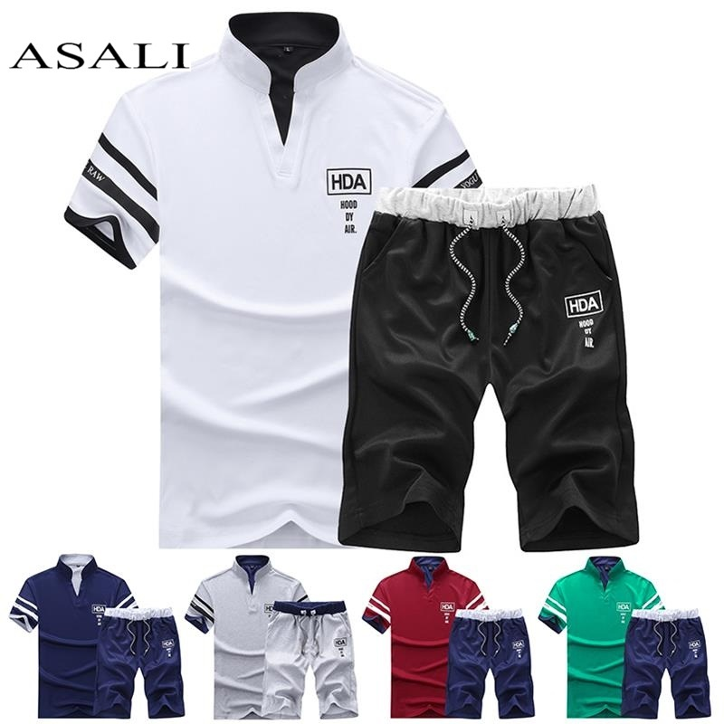 Summer Short Sets Men Casual Suits Sportswear Tracksuit Stand Collar Male Outwear Sweatshirts Hoodies Patchwork T Shirt +Pants