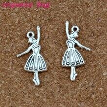 Ballet dancer girl Alloy Charms Pendants 100Pcs/lot Antique silver Fashion Jewelry DIY Fit Bracelets Necklace Earrings 13.5x32mm