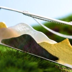 Image 3 - Lotus eğlenceli gerçek 925 ayar gümüş doğal deniz kabuğu el yapımı güzel takı Multipeaked dağ tasarım kolye kolye olmadan
