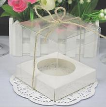 Caja transparente de PVC para cupcakes, 9x9x9CM, boda, proveedor de fiesta, caja de caramelos pastel, embalaje para transporte de alimentos, caja de regalo con soporte inferior