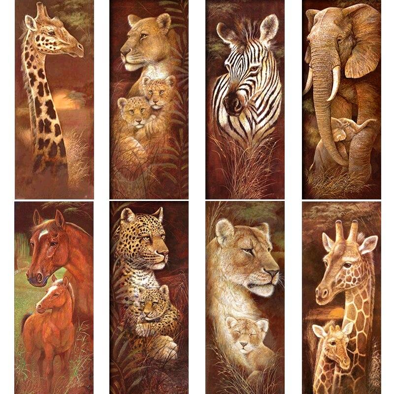 Tier Diamant Stickerei 5D DIY Diamant Muster Weihnachten Tiger und Giraffe Kreuz-stich Voller Diamanten Strass Mosaik