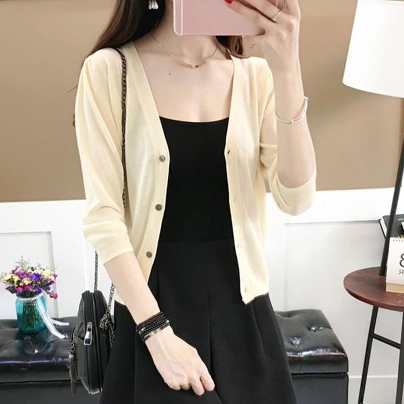 Women V-Neck Thin Coat Summer Sun Protection jaqueta feminina Button Knitted Cardigan Coat Solid Color Korean Casual Tops