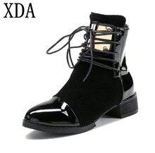 XDA Для женщин сапоги из натуральной кожи на низком каблуке ботинки martin женские мотоциклетные ботинки Осенняя обувь Для женщин из лакированной кожи ботильоны F19