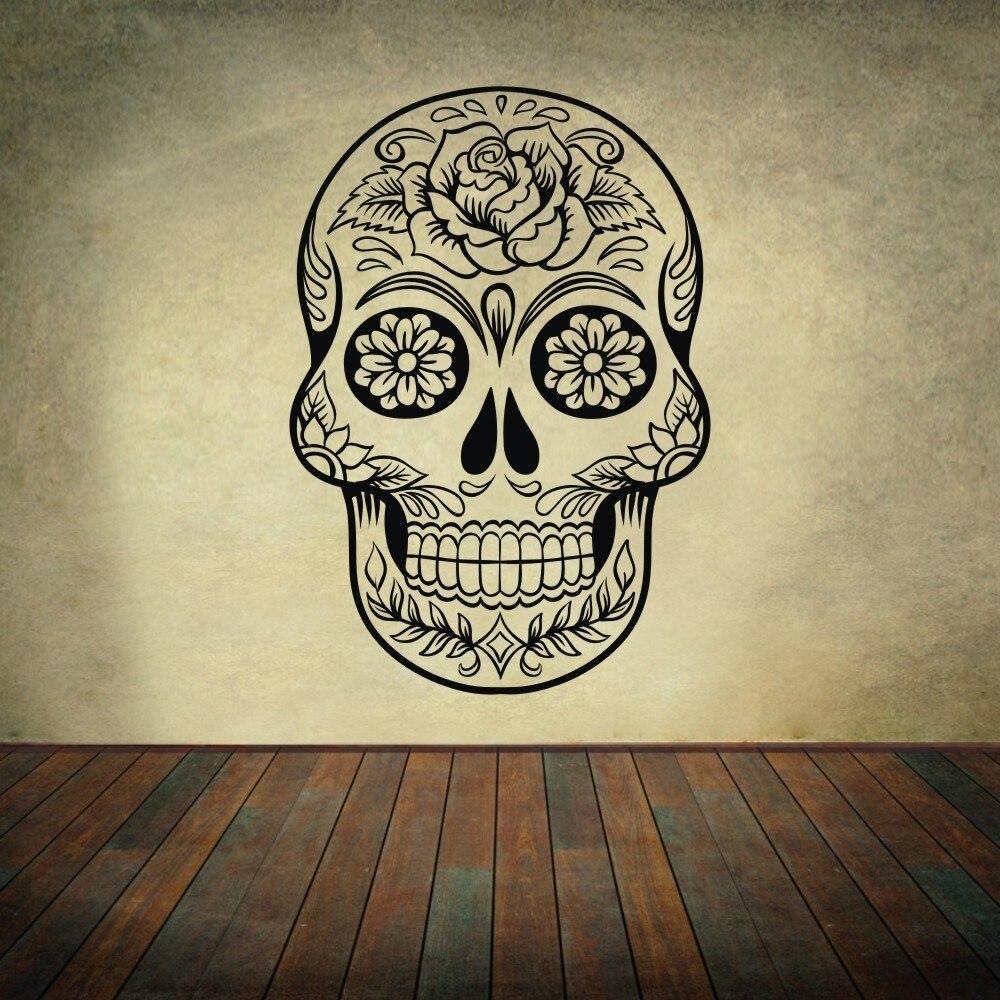 Sugar Skull mexico floral swirl office Wall art Vinyl Wall Sticker ...