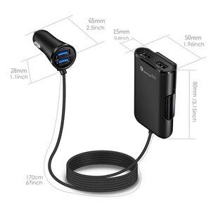 Image 2 - 12V Car Cigarette Lighter 4 USB Charger Splitter Charge Power Adapter Charge USB QC 3.0 Car Cigarette Lighter Extension Cable