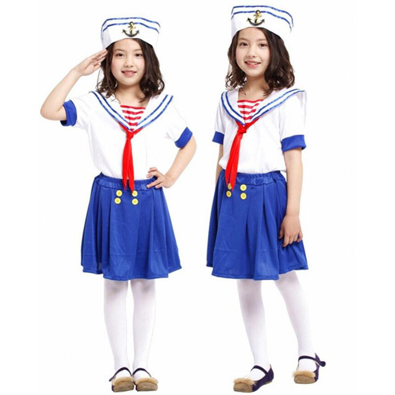 Kids Girls Sailor Cosplay Costume For Girls Navy Suit Children's Halloween Costume For Kids Costume Carnaval Costume Party Dress