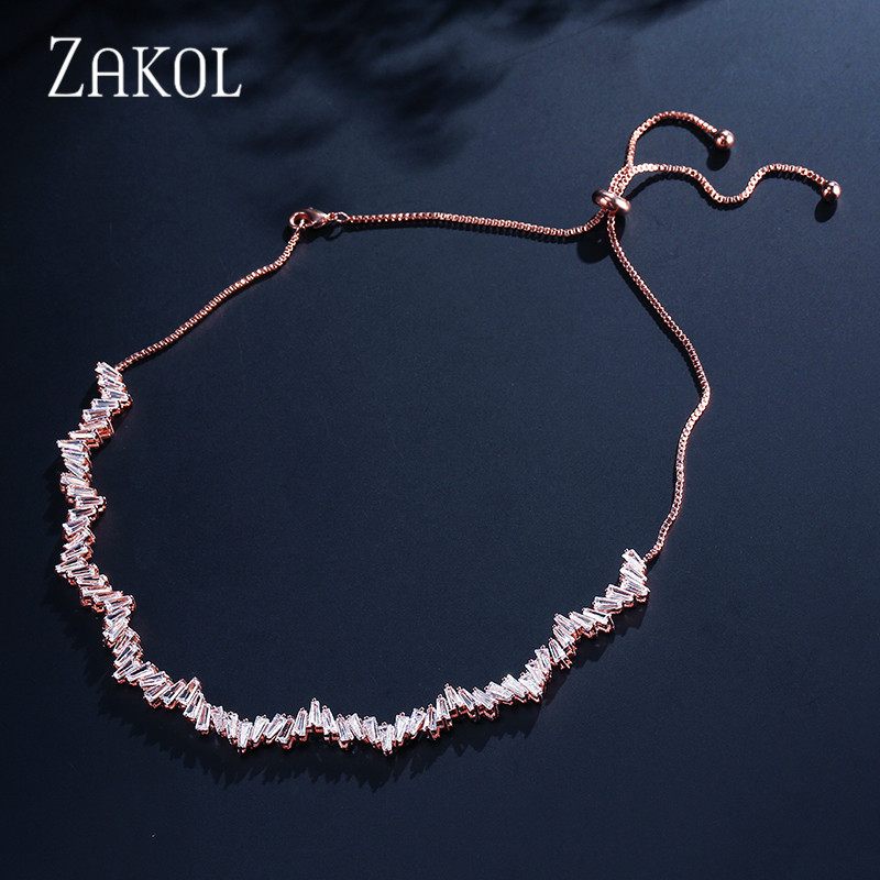 ZAKOL Fashion Baguette Chokers Necklace Jewelry Black Rectangle CZ Zirconia Necklace/Torques For Women Anniversary FSNP2051 все цены