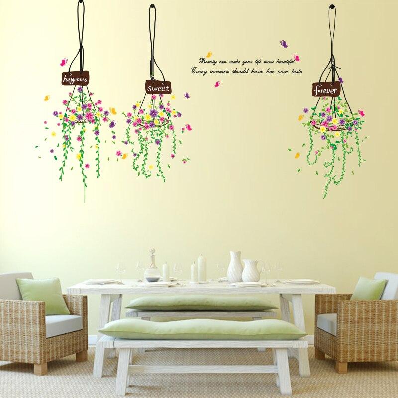 SHIJUEHEZI] Colorful Hanging Basket Wall Sticker Living Room Bedroom ...