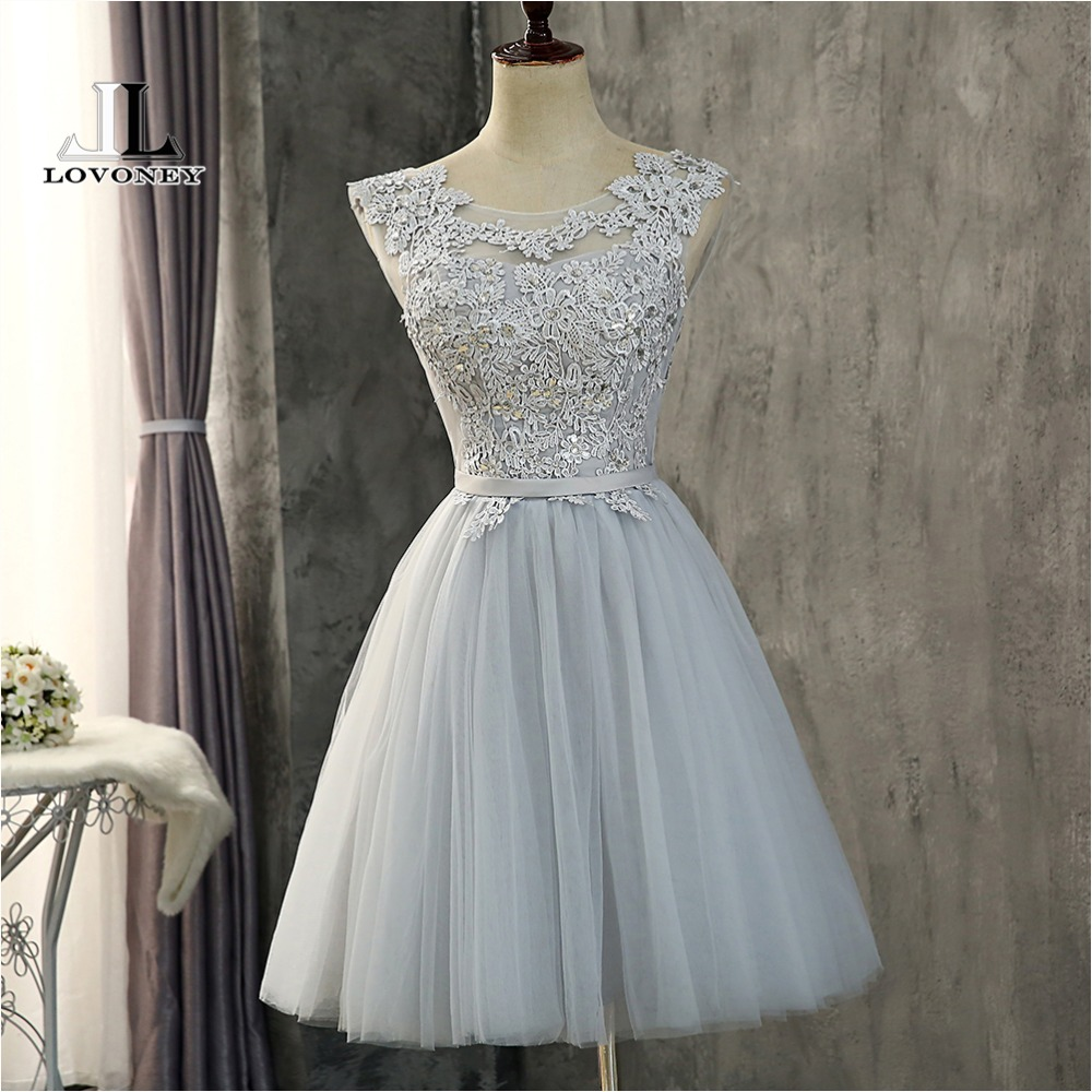 LOVONEY   Cocktail     Dresses   2018 Beading Open Back Lace Up Short Formal Occasion   Dress   Prom Gown Robe de   Cocktail   Party   Dress   CH611