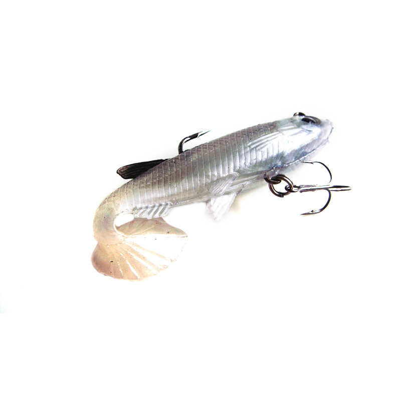 5pcs Pack Black /& White Packed Lead Soft Bait T-Tailed 14g 8cm Fishing Lure
