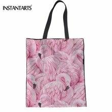 INSTANTARTS Fashion Brand Woman Linen Shopping Tote Bag Cute Animal Flamingos Printing Female Eco Bags Big Foldable Reusable Bag