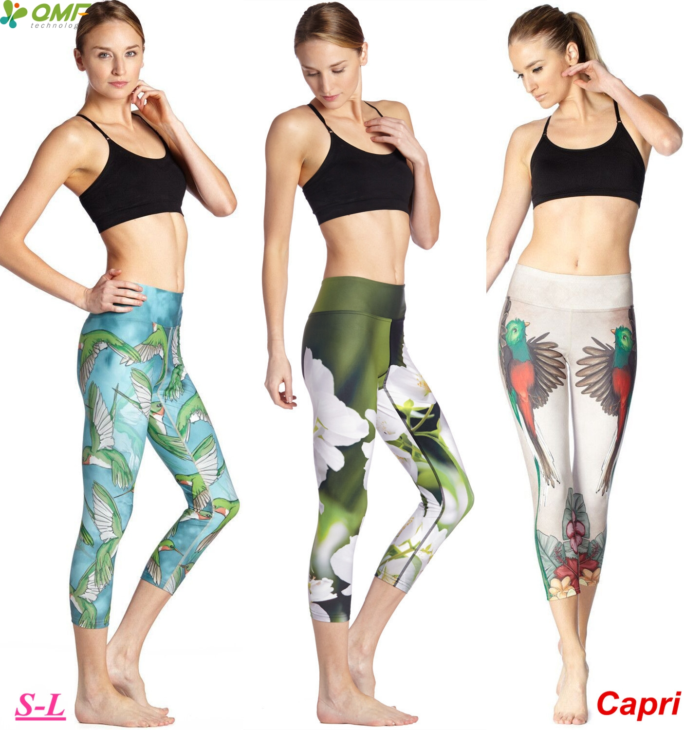 4b3cec42824877 Bird Printed Yoga Running Workout Capris Leggings White Flower Fitness Gym  Skinny Tights Slim Fit Skinny Pants Elastic Femininos
