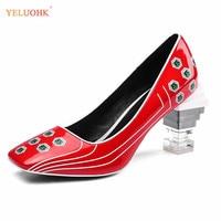 34 43 Patent Leather High Heels Women Plus Size 2019 Spring Shoes Ladies Pumps Top Quality Women Shoes Heel 8 CM