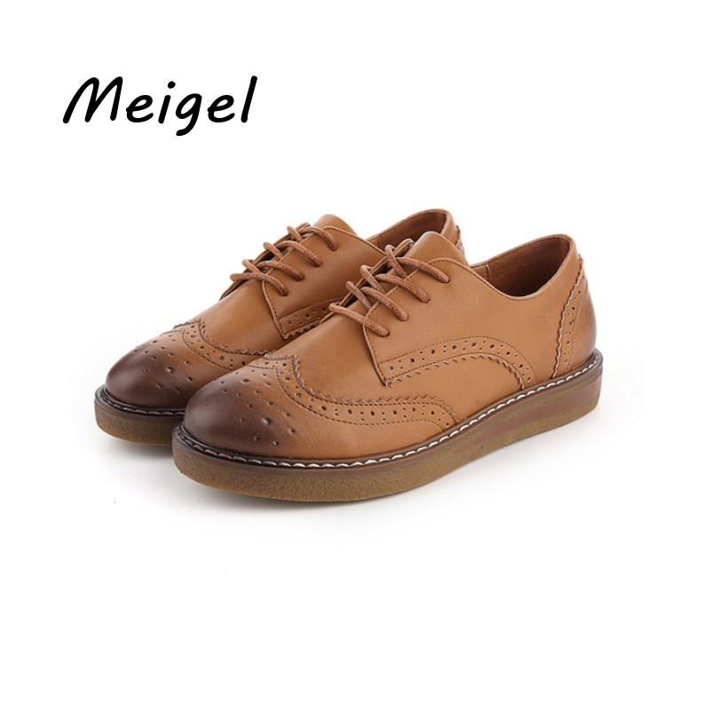 Meigel Platform Oxfords Brogue Flats Shoes Patent Leather Lace Up Pointed Toe Brand Female Footwear Shoes for women Creepers 478 qmn women genuine leather platform flats women cow leather oxfords retro square toe brogue shoes woman leather flats creepers