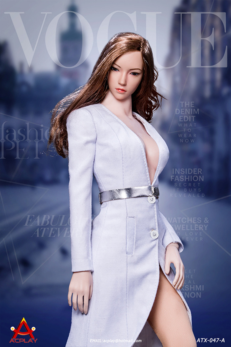 sexy V Necktrench coat suit FashionACPLAY ATX047 1 6 Fashionable deep Three colors For 12 quot Female PH Doll Action Figure Body in Action amp Toy Figures from Toys amp Hobbies