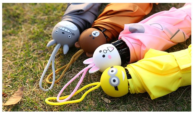Creative Cute Cartoon Bear Rabbit Totoro Villain Children Umbrella 3 Folding Pongee Windproof Rain Umbrella For Kids17