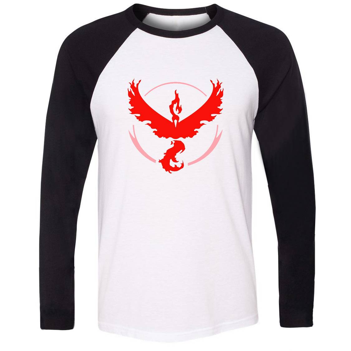iDzn New Hot Unisex T-shirt Pokemon Go Game Fans Moltres Team Red Team Pattern Raglan Long Sleeve Men T shirt Boy Print Tee Tops