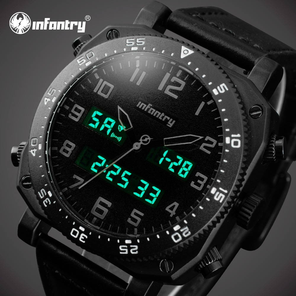 INFANTRY Luxury Brand Big Dial Analog Digital Leather Sports Watches Army Military Watch Man Quartz Date Alarm Relogio Masculino