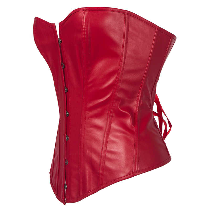 32e33ea0ae356f New Corset Sexy Black Red Corset Faux Leather Overbust Lace up Steampunk  Clothing Top Shaper Plus Size Waist Trainer