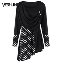 VESTLINDA Plus Size Polka Dot Ruched Asymmetric Top Big Size 5XL Autumn 2017 Long Sleeve Button