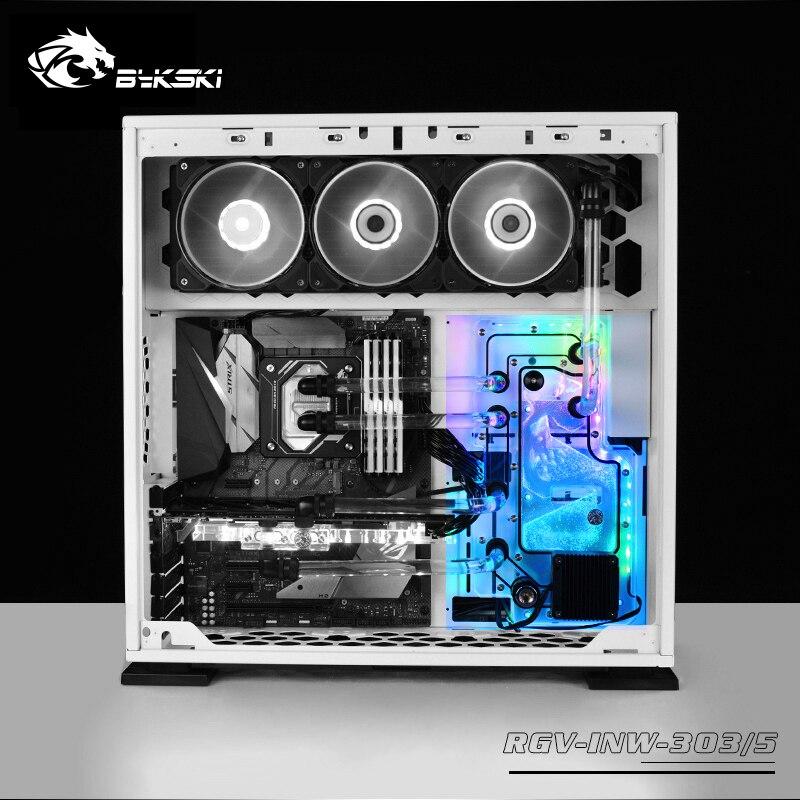 BYKSKI Acrílico Placa de Canal de Água Solução para uso EM WIN 305/305 Chassis para CPU GPU Bloco/3PIN RGB/Combo Bomba DDC