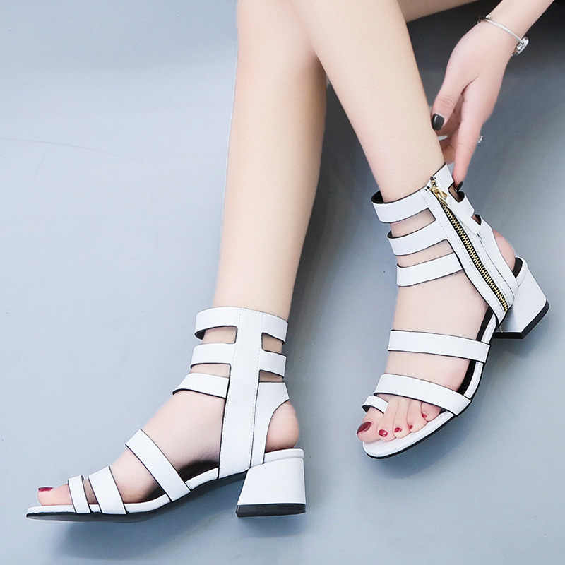 Summer Cool Boots 2019 New Slim British Women's Summer Short paragraph Sandals Women's Thick with Straps Open toe ankle boots