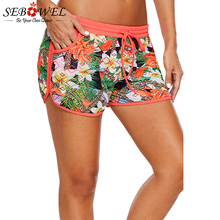 c798495284 SEBOWEL Plus Size Floral Print Lacy Shorts Attached Swim Bottom High Waist  Swimwear Panty Bathing Beach