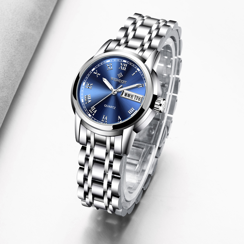 WISHDOIT Fashion Casual Quartz Watches Stainless Steel Women Watch Relogio Feminino Waterproof Clock zegarek damski montre femme fashion watch women watches stainless steel unique simple watches casual quartz wristwatches clock hot sale zegarek damski 4fn