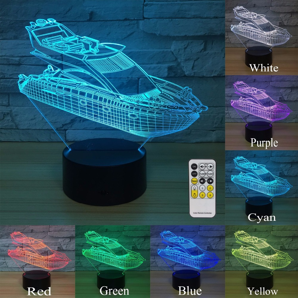 Yacht Night Lights for Kids Home Decorations 7 Colors Change with Remote or Touch Sensor Baby Night Light Beside Lamp 3D Lamp