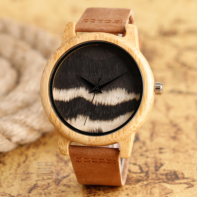 Casual Nature Wood Genuine Leather Strap Quartz Bamboo Wooden Wrist Watch Men Women Band Tree Wave