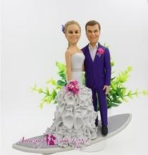 2019 удивительный торт Топпер Романтический Приморский Свадебный доски для серфинга игрушки на заказ Полимерная глина рисунок из фотографий