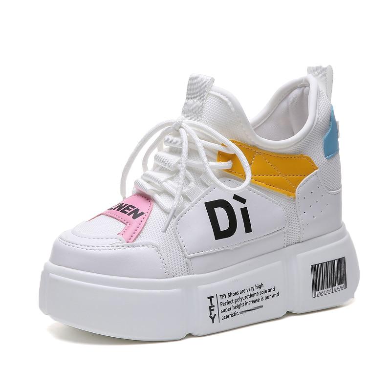 Femmes blanc L'épaisse Mode Coréenne Chaussures Cm Fond Sauvage Augmenter Nouveau Noir Talons 11 Automne À Haute Sneakers Version Plat De Hauts BOq8tBwxR