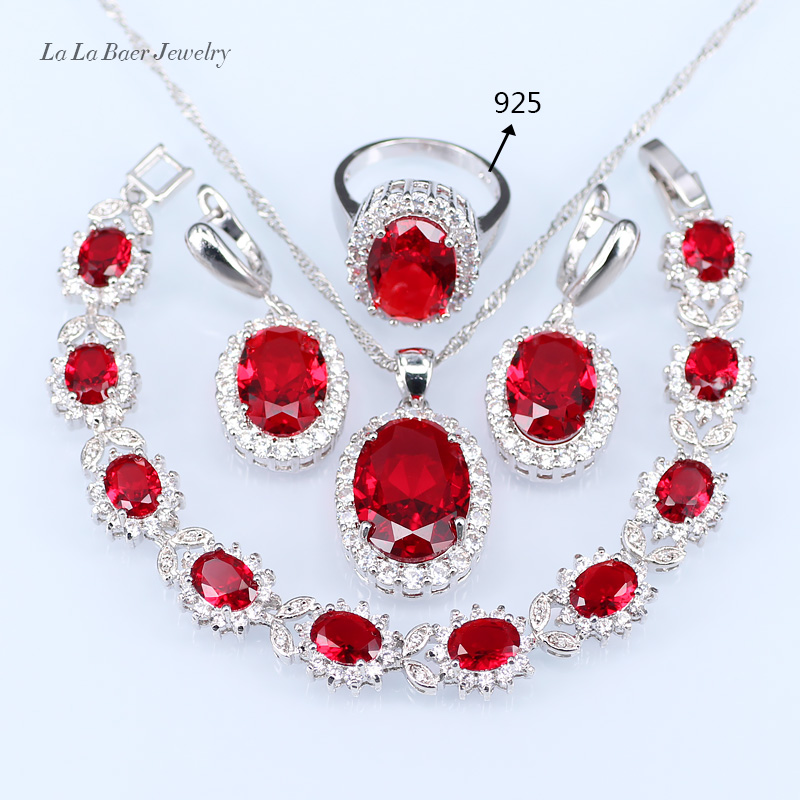 L&B Silver color Red created Garnet Cubic Zircon Jewelry Sets Long Drop Earrings Pendant Necklace Ring Bracelet For Women a suit of chic faux ruby water drop necklace ring bracelet and earrings for women