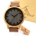 BOBO de AVES A18 Womens Casual Antiguo Reloj De Madera De Bambú Redondo para Los Hombres Correa de Cuero de la Señora Relojes de Lujo Superior de la Marca de Pulsera reloj