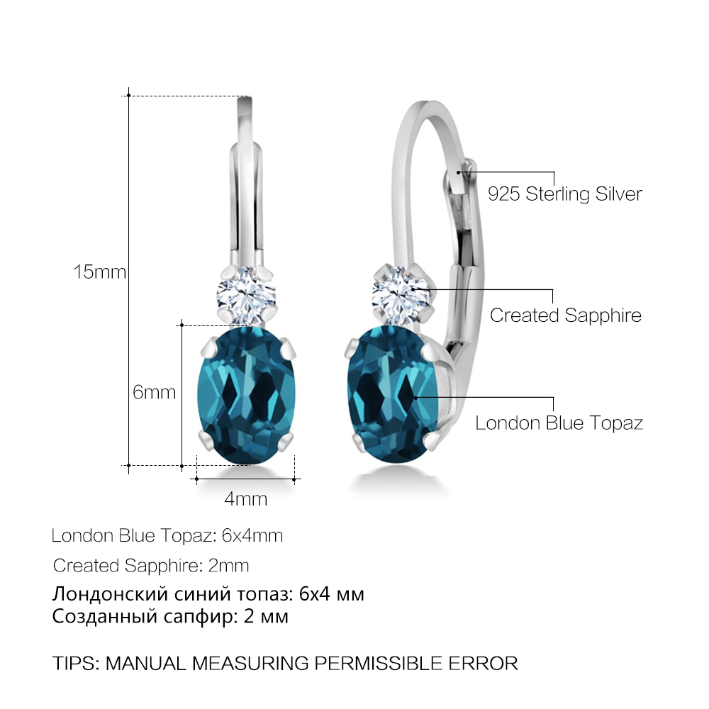 jewelrypalace product topaz stud new genuine silver outstanding earrings fine women blue jewellery natural jewelry sterling